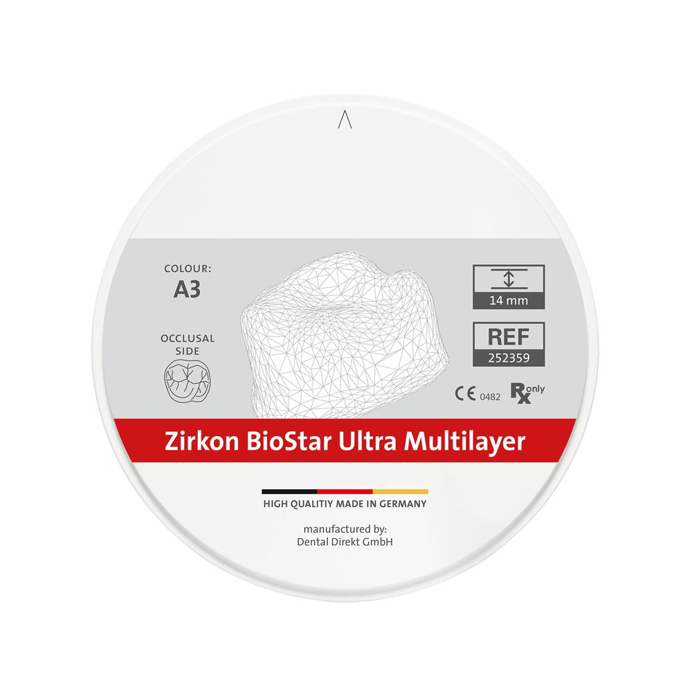 Zirkon BioStar ULTRA Multilayer Ø 99 mm, colour A2